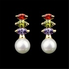 Women's Fashion Pearl Style w/ Rhinestones Stud Earrings - White + Multicolor (Pair)