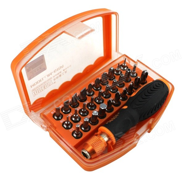 31-in-1 Anti Drop High-altitude Professional Screwdriver Set - Orange + Black +Silver world beauty luxurious professional high quality eyelash extension kit