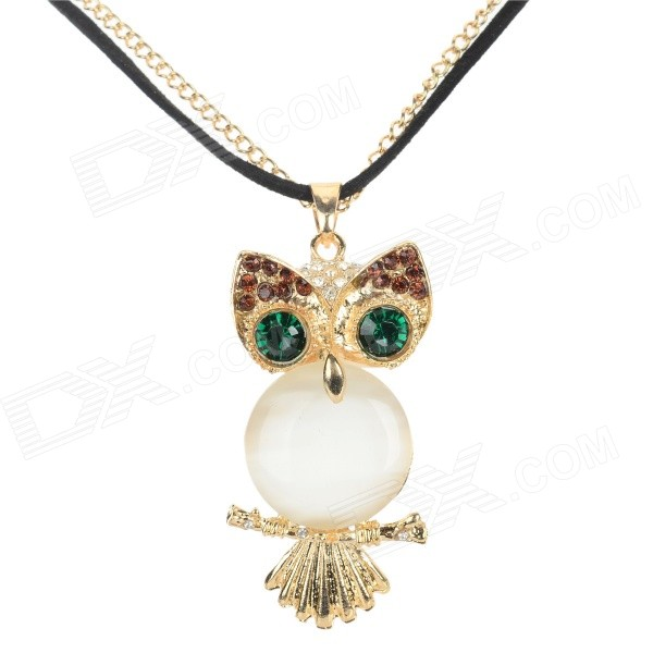 Women's Fashion Owl Style Rhinestone Inlaid Zinc Alloy Necklace - White + Golden + Multi-Color gorgeous 60cm length golden thick braided wheat chain necklace for men