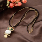 Women's Fashion Owl Style Rhinestone Inlaid Zinc Alloy Necklace - White + Golden + Multi-Color