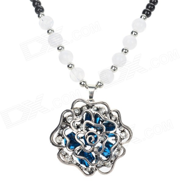 FS005 Flower Style Rhinestone Inlaid Pendant Necklace - Black + Multi-Color