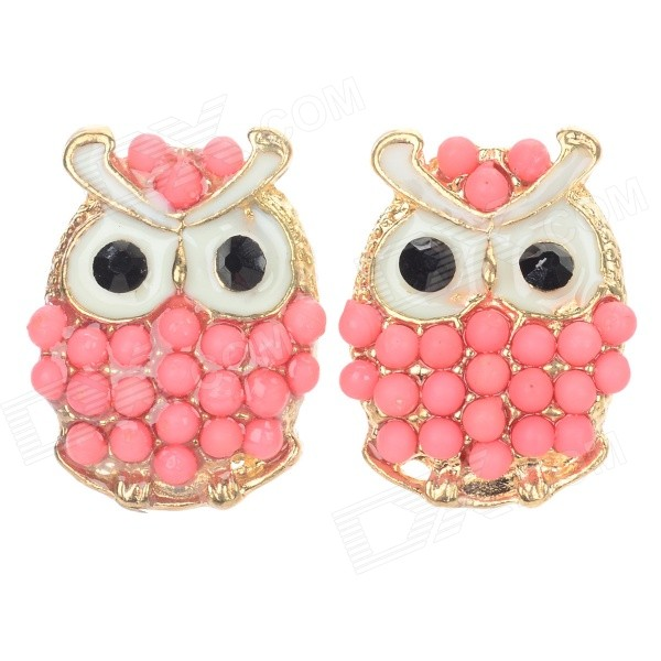 B027 Women's Fashion Owl Style Zinc Alloy Ear Studs - Red + Golden (Pair) anatomy brain anatomical model human brain model anatomy models brain models brain medical anatomical torso gasen rzjp060
