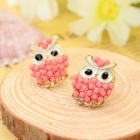 B027 Women's Fashion Owl Style Zinc Alloy Ear Studs - Red + Golden (Pair)