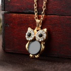 Women's Owl Style Rhinestone Inlaid Zinc Alloy Necklace - Black + Golden