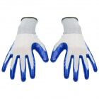 Durable Anti-Slip Working Latex Coated Safety Gloves - White + Deep Blue (Pair)