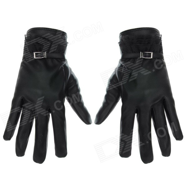 Women's Casual PU + Lace Phone Touch Screen Gloves - Black (Pair)