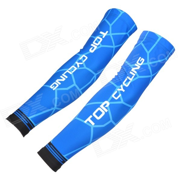 TOPCYCLING Four Seasons Outdoor Cycling Polyester + Spandex Arm Sleeves - Blue (M / Pair)