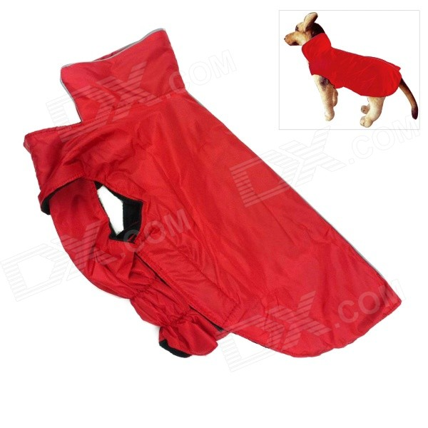 Water-resistant Nylon + Fleece Jacket for Pet Dog - Red (Size M)