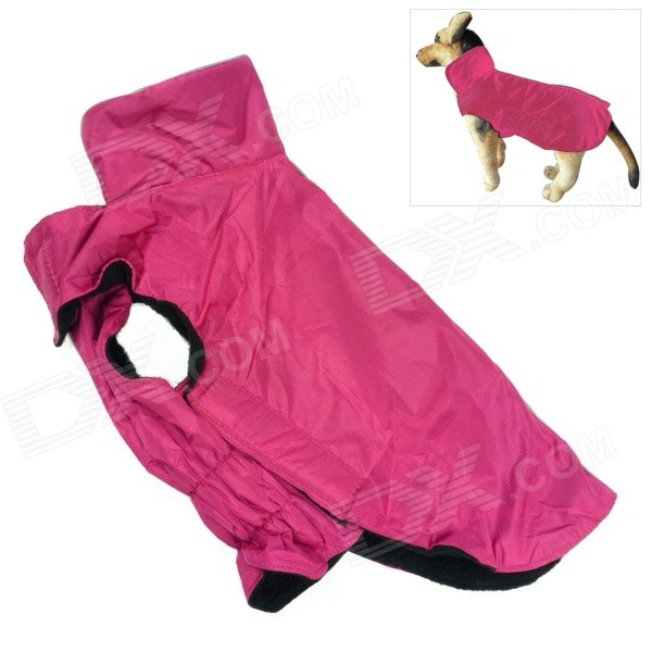 Water-resistant Nylon + Fleece Jacket for Pet Dog - Deep Pink (Size M) e