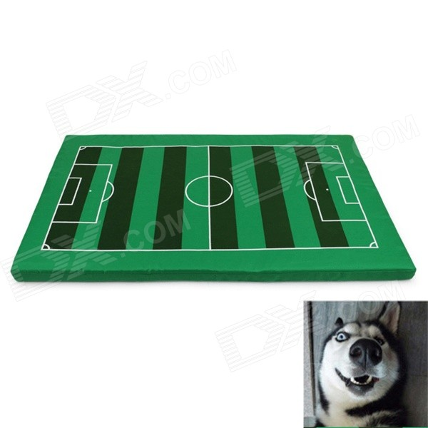 YDL-D4005-S Fashionable Soccer Field Style Mat Pad for Pet Cat / Dog - Green + Brown + White (S) super soft frisbee ufo style silicone indoor outdoor toy for pet dog light green