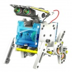 NEJE DIY 14-in-1 Solar Powered Robot Style Assembling Toy - White + Blue + Multi-Color