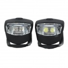Anti-slip 2-LED White / Blue Front + Rear Bike Lamps w/ Silicone Case - Black (2 PCS)