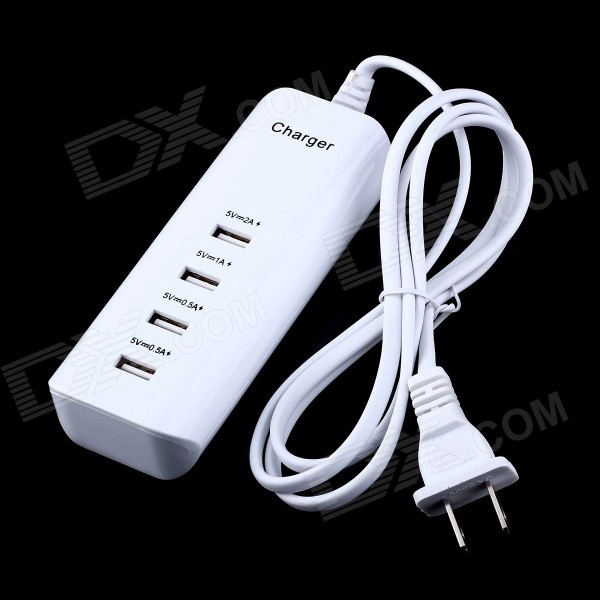 4-Port 20W 4000mA USB Power Adapter / Charger - White + Black (110~250V / US Plug)