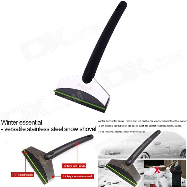 Anti-Slip Handle Multi-function Stainless Steel Ice Shovel Scraper for Car Window + More - Black