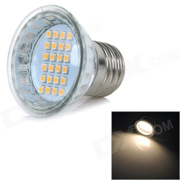 E27 3.5W 160lm 3500K 3528 SMD LED Warm White Light Quartz Lamp Cup - Silver + Yellow (AC 220V)