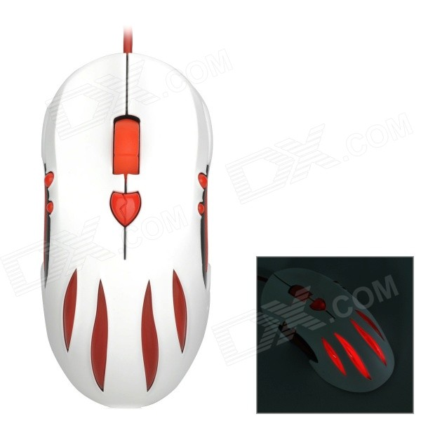 AULA Witch Love USB 2.0 Wired 1000 / 1500 / 2000 / 2500DPI Gaming Mouse - White + Red