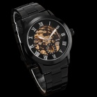 MCE Men's Steel Band Hollow Out Style Self-Winding Analog Mechanical Wrist Watch - Black