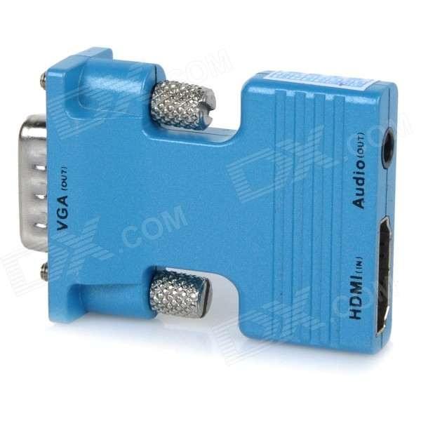 H78 HDMI Female to VGA Male Audio Convertor w/ 3.5mm Jack - Light Blue - DXA/V Adapters &amp; Converters<br>Suitable for cellphones desktops laptops; Can convert HDMI input signal to displayer LCD and projector; Supports plug and play; Resolution: 720P / 1080i / 1080P.<br>