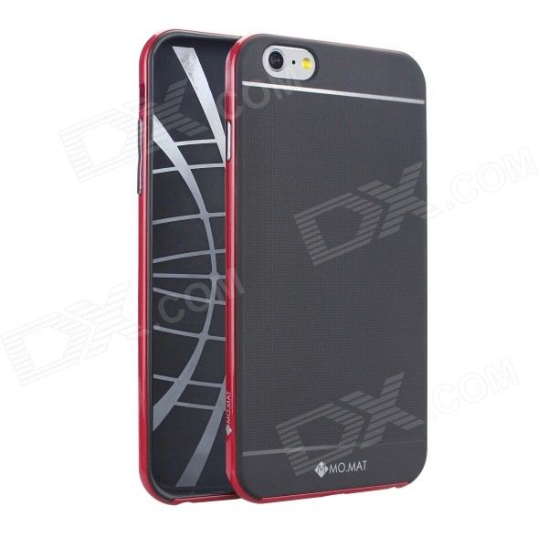 MO.MAT Medo Plastic Bumper Frame + TPU Soft Back Cover Case for IPHONE 6 Plus 5.5 - Black + Red for iphone 5s 5 lines texture tpu cover removable plastic frame grey