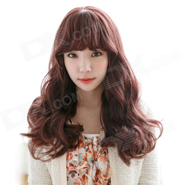 Customizable Capless Synthetic Curly Wavy Long Wig - Dark Brown the immortals dark flame