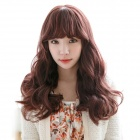 Customizable Capless Synthetic Curly Wavy Long Wig - Dark Brown