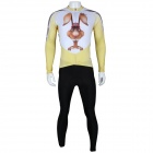 Paladinsport Men's Rabbit Pattern Long-sleeved Cycling Jersey + Pants Set - White + Yellow (Size S)