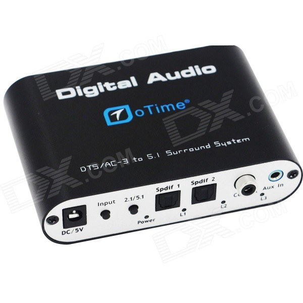 oTime OT-5R DTS / AC-3 Digital Audio Decoder w/ 5.1 Channel Output - Black digital to analog audio convertor black
