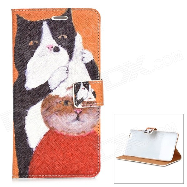 Hair Cut Cats Pattern PU Leather Case with Stand and Card Slot for IPHONE 6 PLUS silk grain leather stand case for iphone 7 plus with card slot dark blue