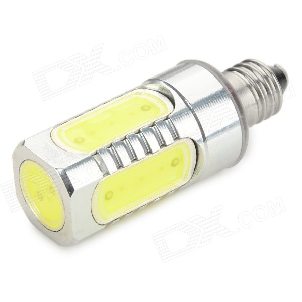 E11 7W 650lm 5-COB Bluish White Light Lamp - Silver (AC 85~265V)Other Connector Bulbs<br>Form  ColorSilver + Yellow,??Color BINBluish WhiteModelN/AMaterialAluminumQuantity1 DX.PCM.Model.AttributeModel.UnitPower7WRated VoltageAC 85-265 DX.PCM.Model.AttributeModel.UnitConnector TypeOthers,E11Emitter TypeCOBTotal Emitters5Actual Lumens250-650 DX.PCM.Model.AttributeModel.UnitColor Temperature12000K,Others,7000-10000KDimmableNoPacking List1 x Lamp<br>
