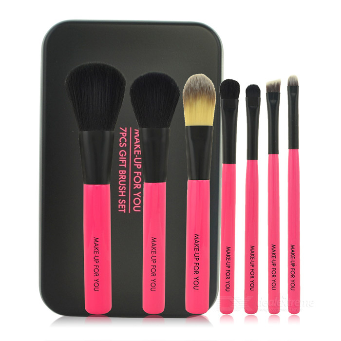 MAKE-UP FOR YOU Portable 7-in-1 Professional Cosmetic Brushes Set w/ Iron Box - Black + Deep Pink hot sale 2016 soft beauty woolen 24 pcs cosmetic kit makeup brush set tools make up make up brush with case drop shipping 31