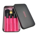 MAKE-UP FOR YOU Portable 7-in-1 Professional Cosmetic Brushes Set w/ Iron Box - Black + Deep Pink