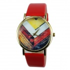 Women's Wooden Division Pattern PU Band Analog Quartz Watch - Red + Multi-Color (1 x 377)