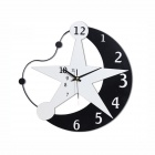 T6036 Modern Mond + Stern-Art Wall Clock - Black + White (1 x AA)