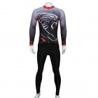 Paladinsport Men's Lion Pattern Long-sleeved Cycling Jersey + Pants Set - White + Black (Size L)