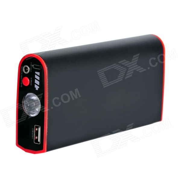 9000mAh Multi-function Car Emergency Launcher Jump Starter Power Bank w/ LED Torch - Black + Red