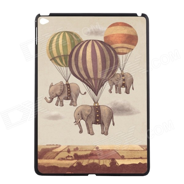 Elonbo Cartoon Elephants Pattern Protective Plastic Back Case for IPAD AIR 2 - Grey + Yellow