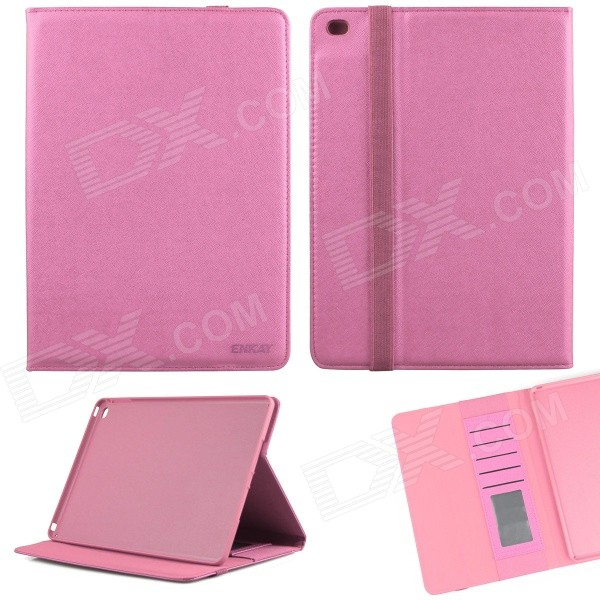 ENKAY ENK-3509 Protective Smart PU Leather Case w/ Stand / Card Slots for IPAD AIR 2 - Pink enkay enk 3509 protective smart pu leather case w stand card slots for ipad air 2 deep pink