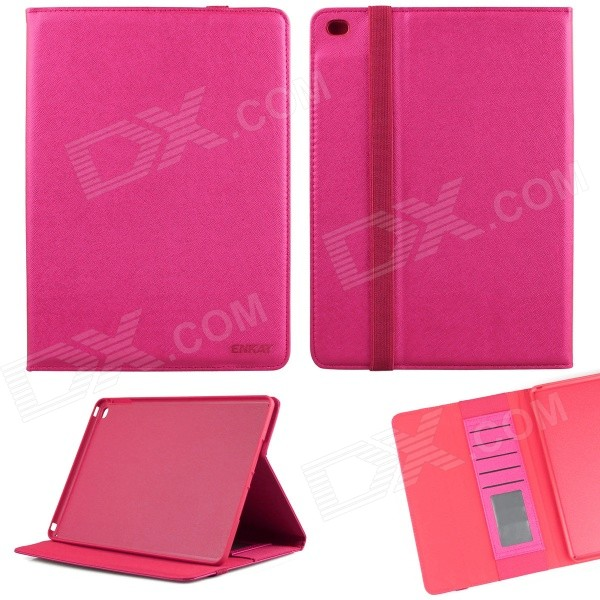 ENKAY ENK-3509 Protective Smart PU Leather Case w/ Stand / Card Slots for IPAD AIR 2 - Deep Pink enkay enk 3509 protective smart pu leather case w stand card slots for ipad air 2 deep pink