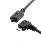 CY Micro USB 90 Degree Male to Female Extension Cable - Black (50cm)