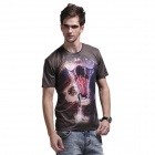 Xinglong Impression 3D Cobra conception manches courtes T-shirt - Brown + Multi-couleur (Taille XL)