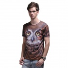 XINGLONG 3D Printing Owl Pattern Short Sleeves T-shirt - Brown + Multi-Color (Size L)