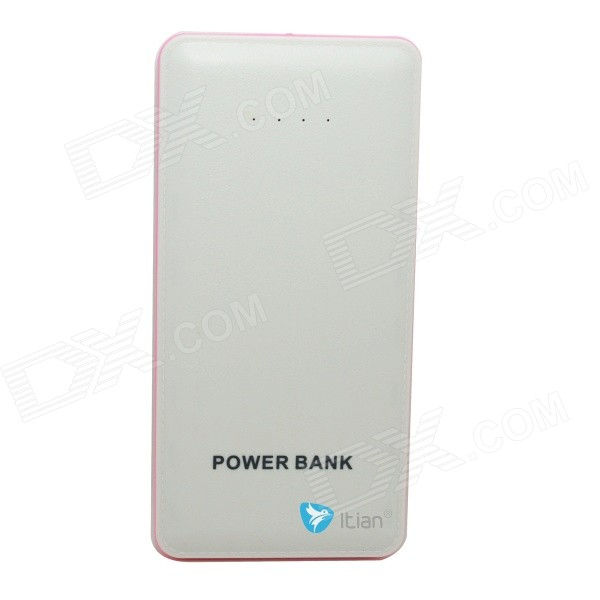 Itian Portable Universal 20000mAh Li-polymer Battery Dual USB Power Bank - White + Light Pink mp 4s universal portable 3500mah power bank 1w white light usb led lamp head blue