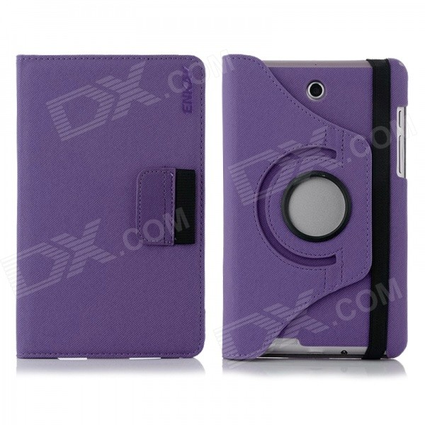 ENKAY 360' Rotary Protective Flip Open Case w/ Card Slots for Asus Fonepad 7 / ME372CG - Purple protective pu leather flip open case w stand for 10 1 asus transformer pad tf303cl purple