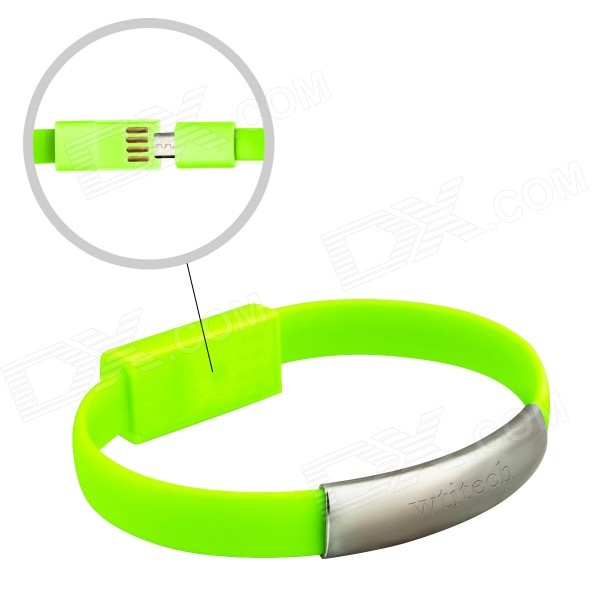 Wtitech W-08-1 Micro USB Male to USB Male Charging & Sync Bracelet Cable - Green (21cm) Oklahoma City B. ad