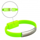 Wtitech W-08-1 Micro USB Male to USB Male Charging & Sync Bracelet Cable - Green (21cm)