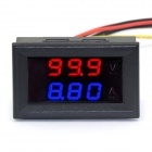 "Jtron 0.28"" 4-Digit LED Dual-Display DC Ammeter Voltmeter - (Red Volt / Blue Amp / 0~100V / 10A)"