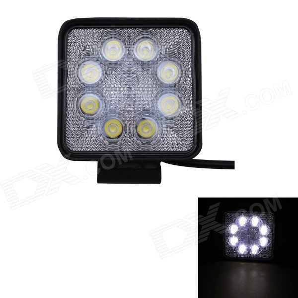 24W Type/F 1680lm 6000K 8-LED White Spot Light Square Working Lamp Bar for Car / Boat