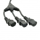 CY PW-076 IEC C14 Male to 3-C13 Female Y Type Splitter Power Extension Cable - Black (20cm)