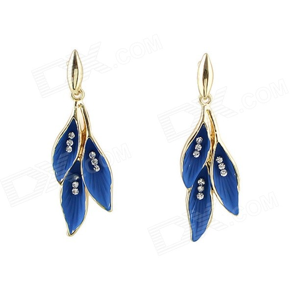 Women's Hanging Leaf Shaped Rhinestone Inlaid Earrings - Blue + Golden (Pair) stylish zinc alloy earrings white golden pair