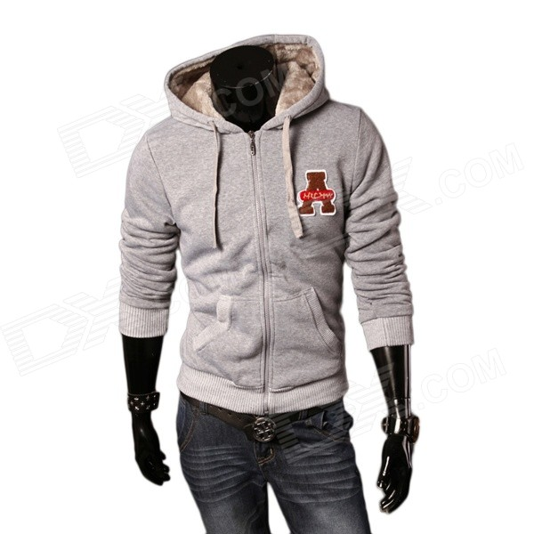 A66 Men's Autumn / Winter Wear Stylish Slim Velvet Hooded Sweater - Grey (XXL)